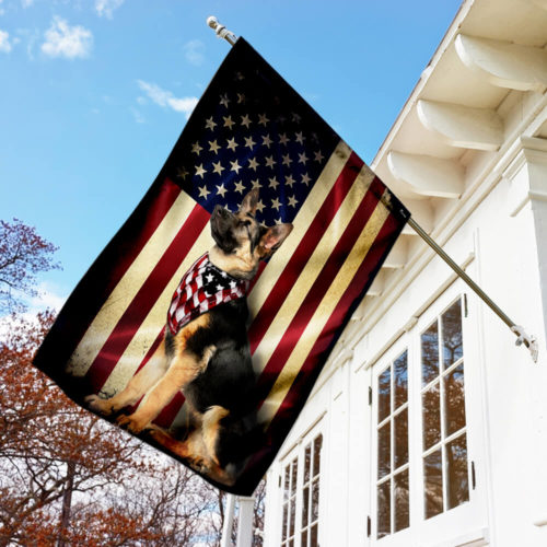american flag german shepherd all over print flag 5
