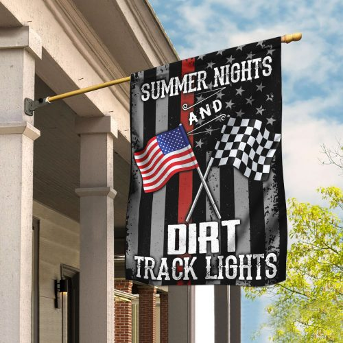 american flag summer nights and dirt track lights all over print flag 2