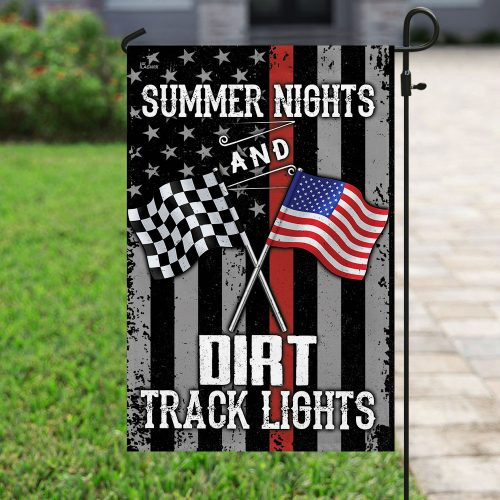 american flag summer nights and dirt track lights all over print flag 4