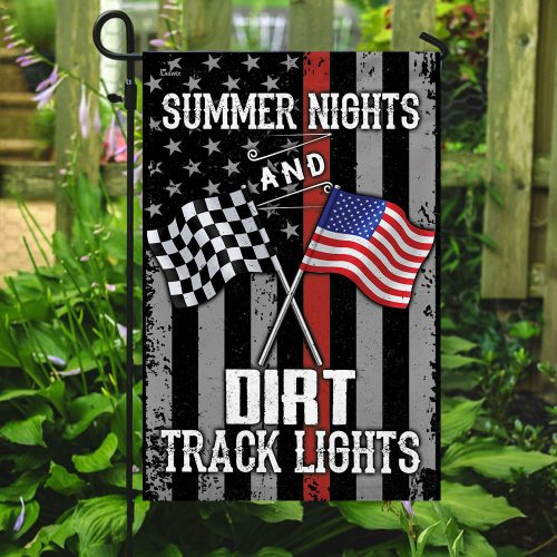 american flag summer nights and dirt track lights all over print flag 5