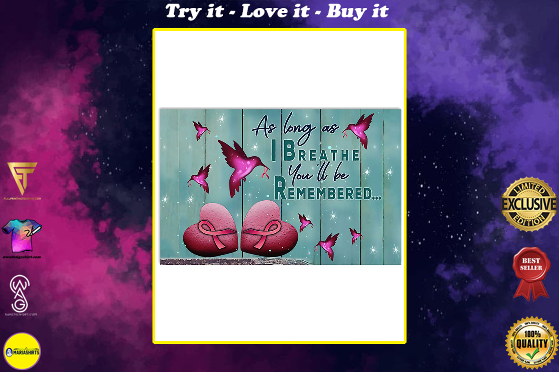 as long as i breathe you'll be remembered breast cancer poster