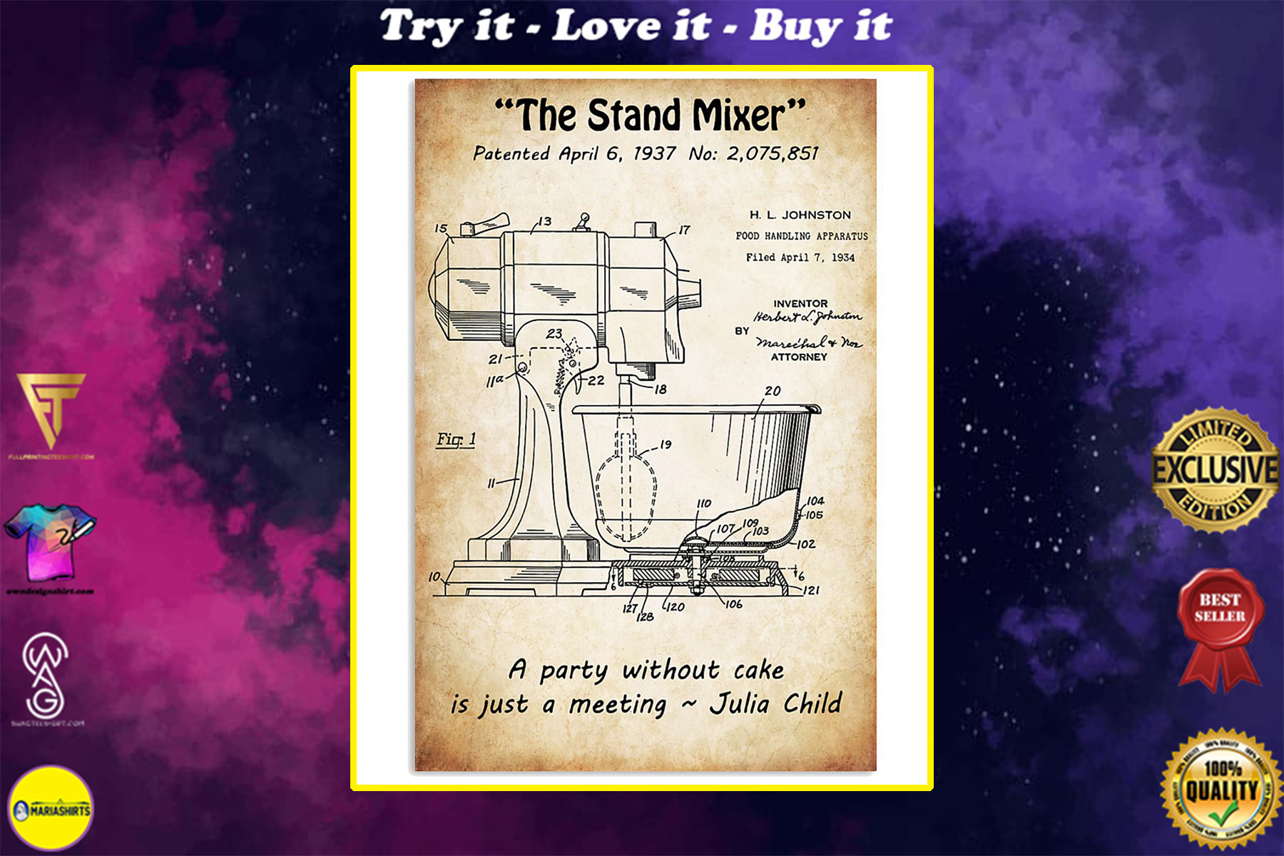 baking the stand mixer vintage poster