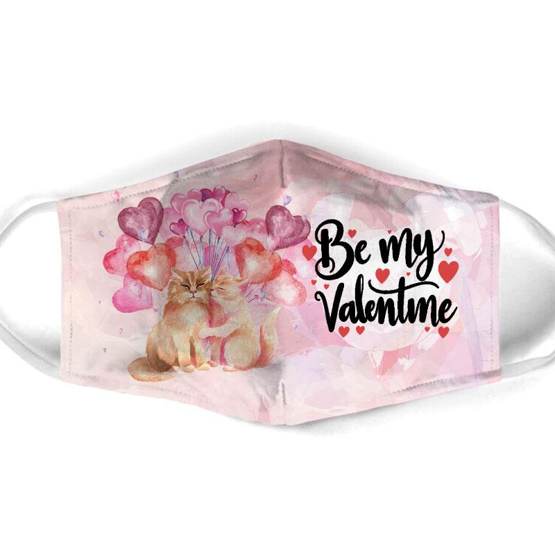 be my valentine couple cat all over print face mask 1