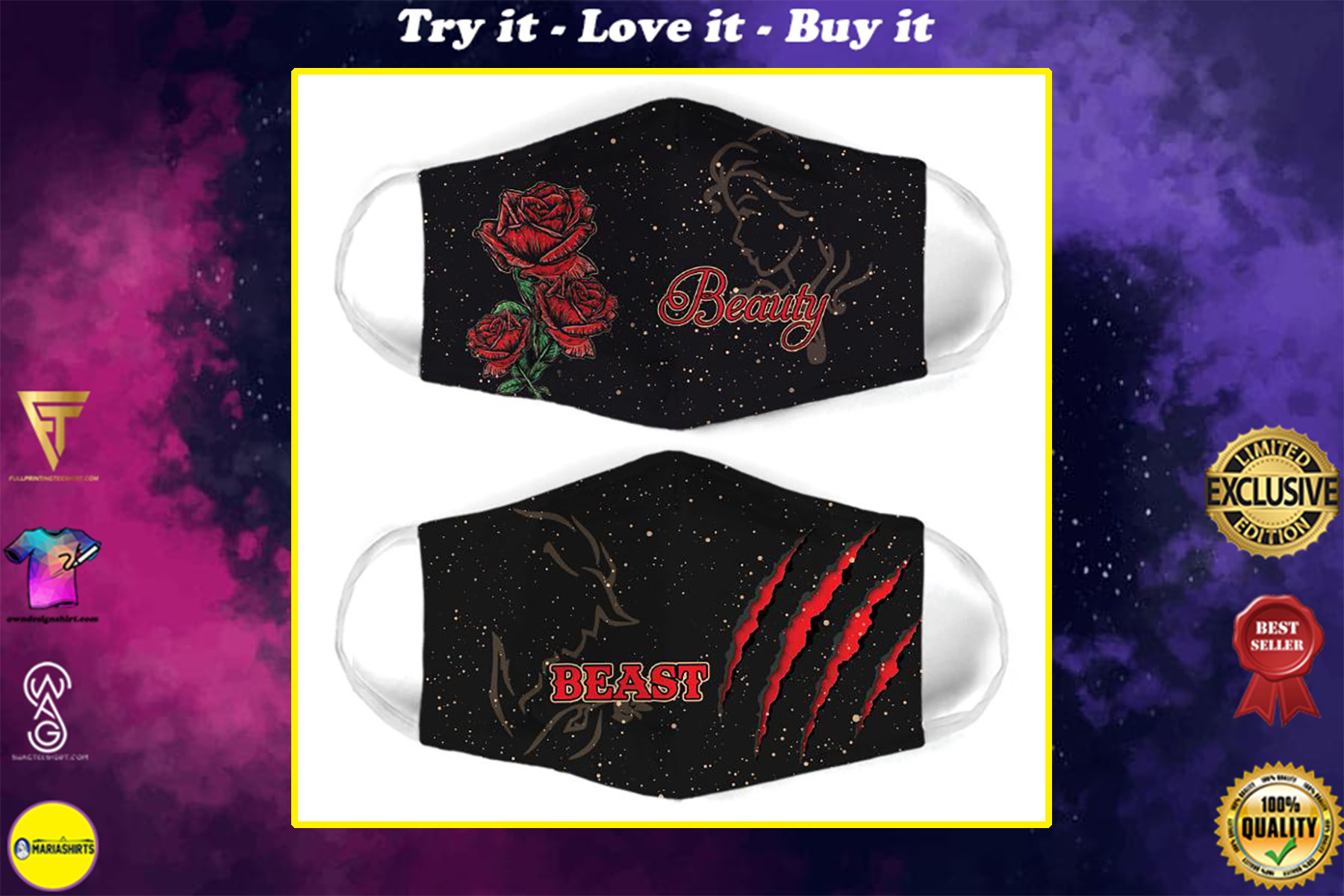 beauty and the beast for couple love all over print face mask