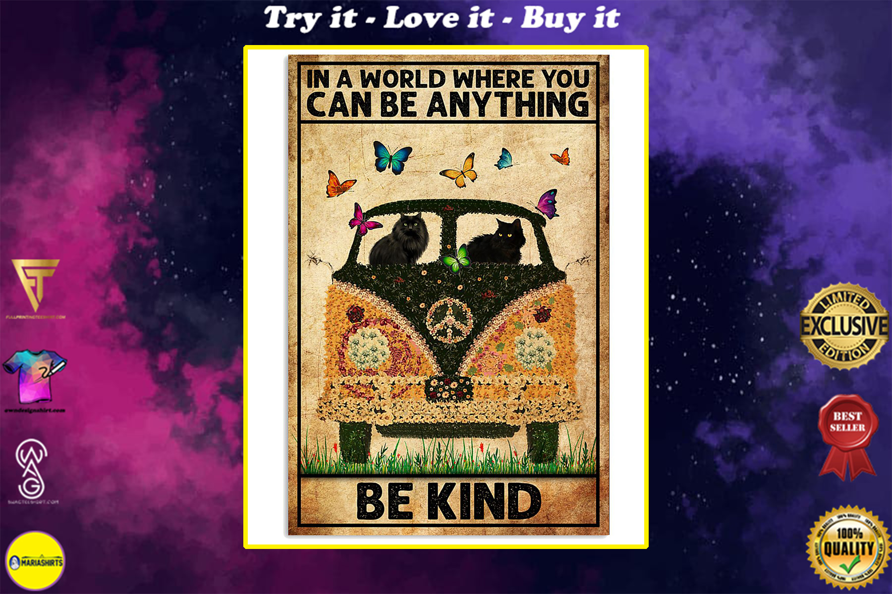 black cat in a world where you can be anything be kind poster