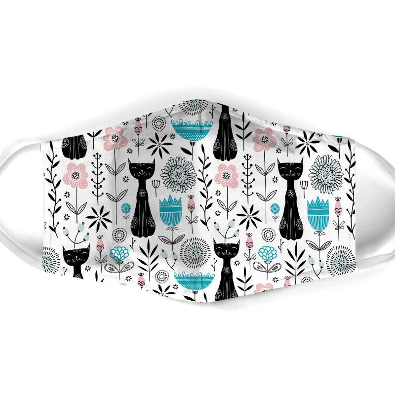 black cat pattern all over print face mask 1