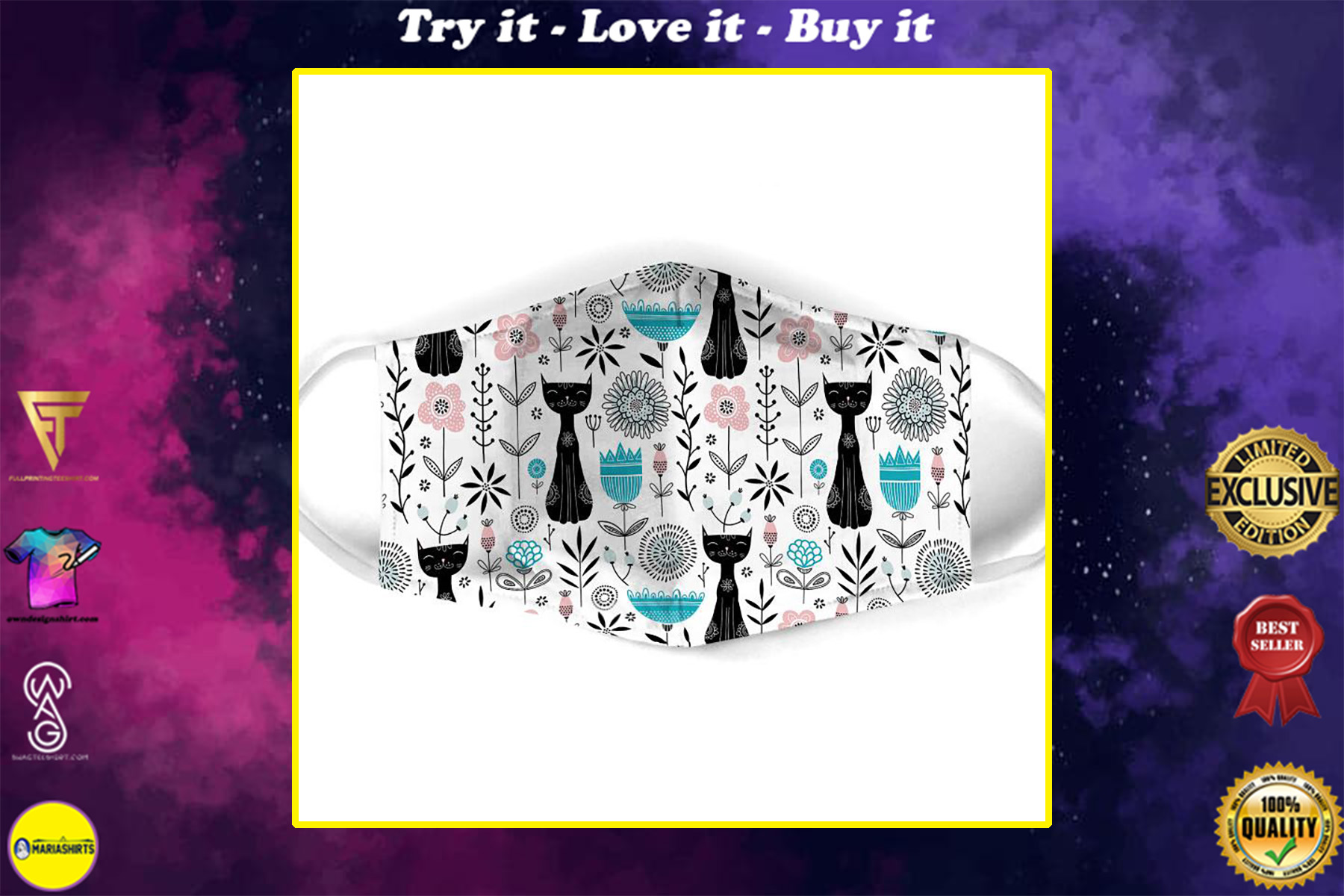 black cat pattern all over print face mask