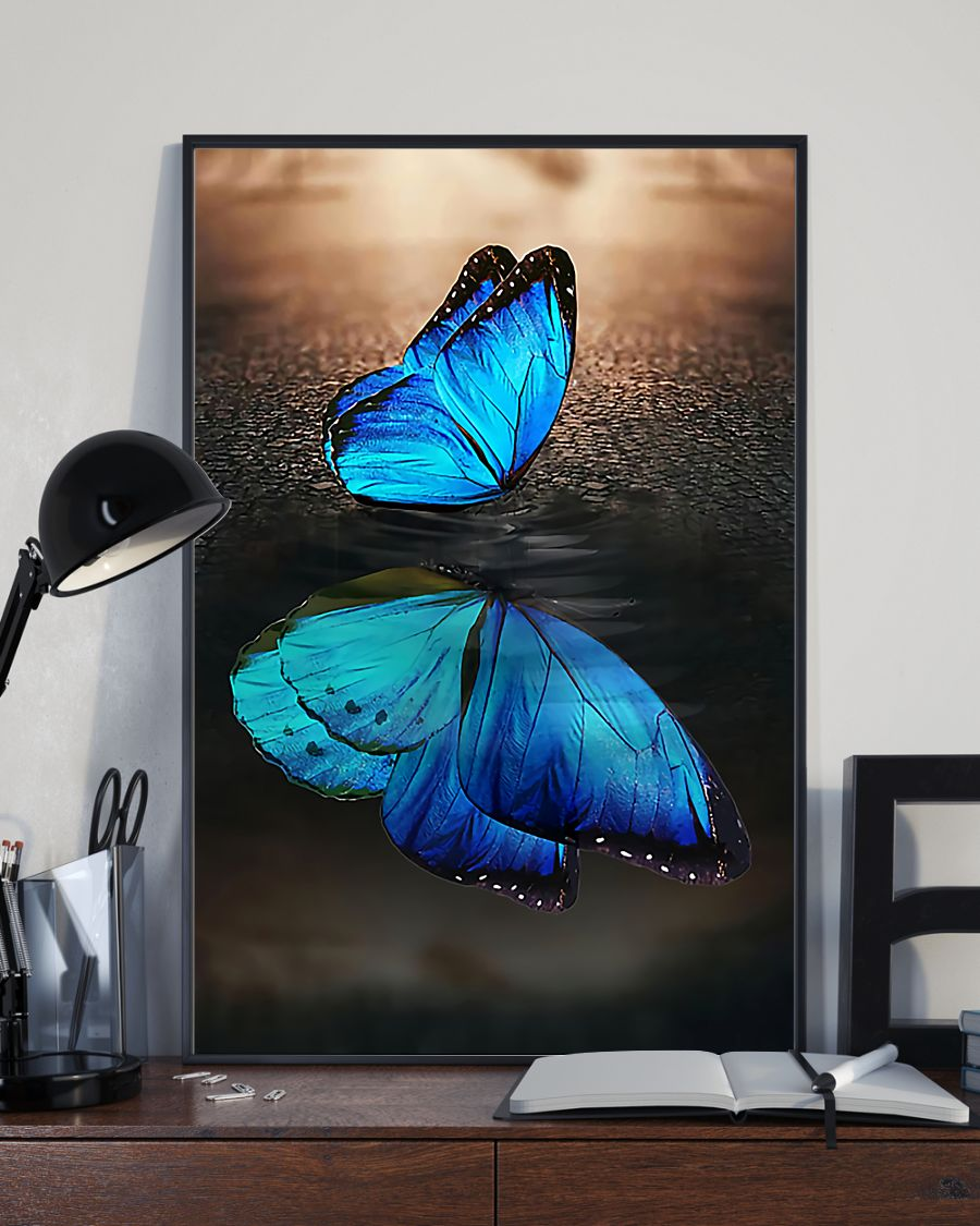 blue butterfly on water reflection wall art poster 2