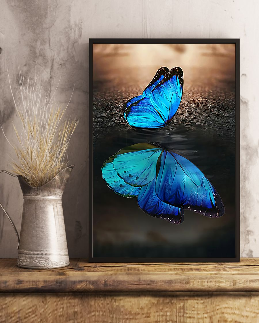 blue butterfly on water reflection wall art poster 5