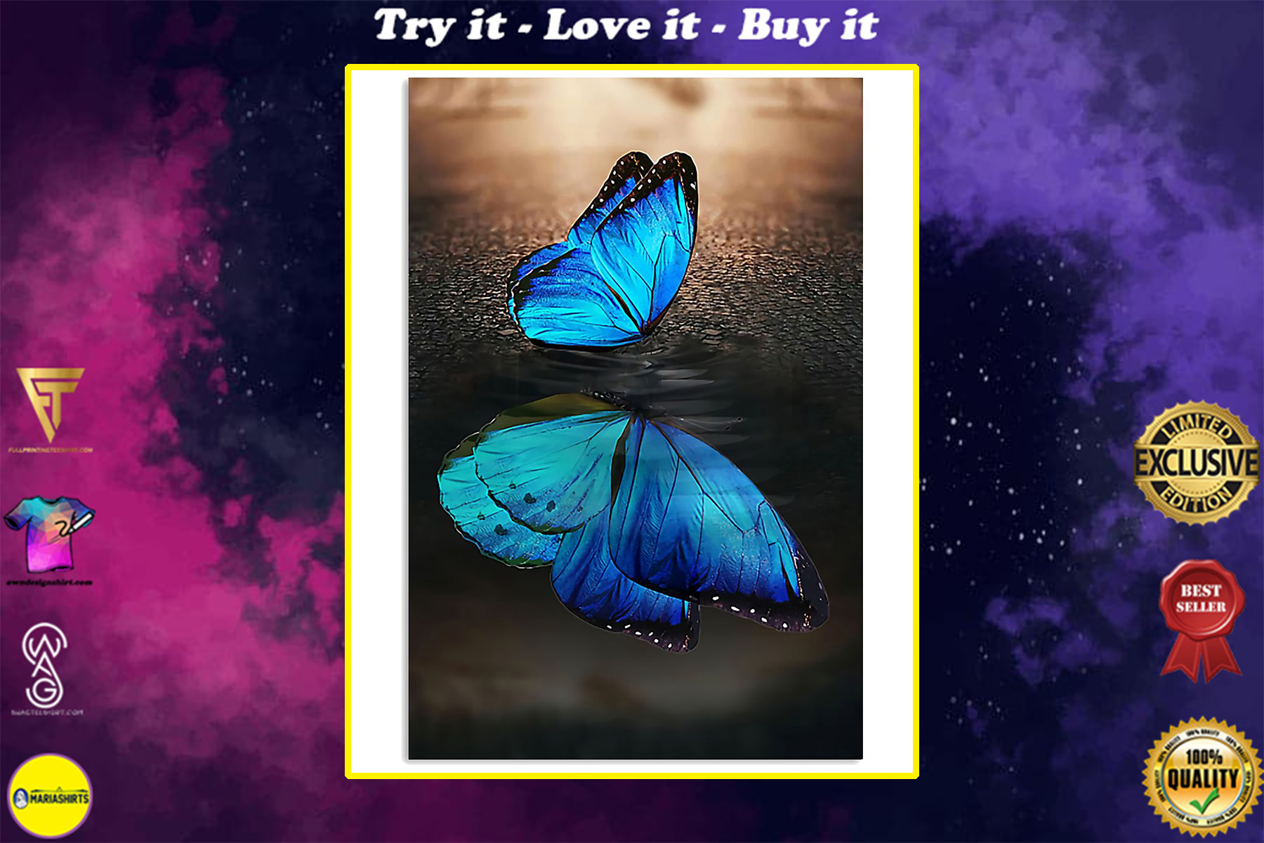 blue butterfly on water reflection wall art poster