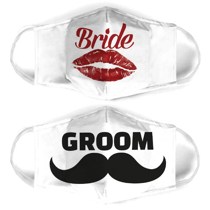 bride and groom for couple love all over print face mask 1