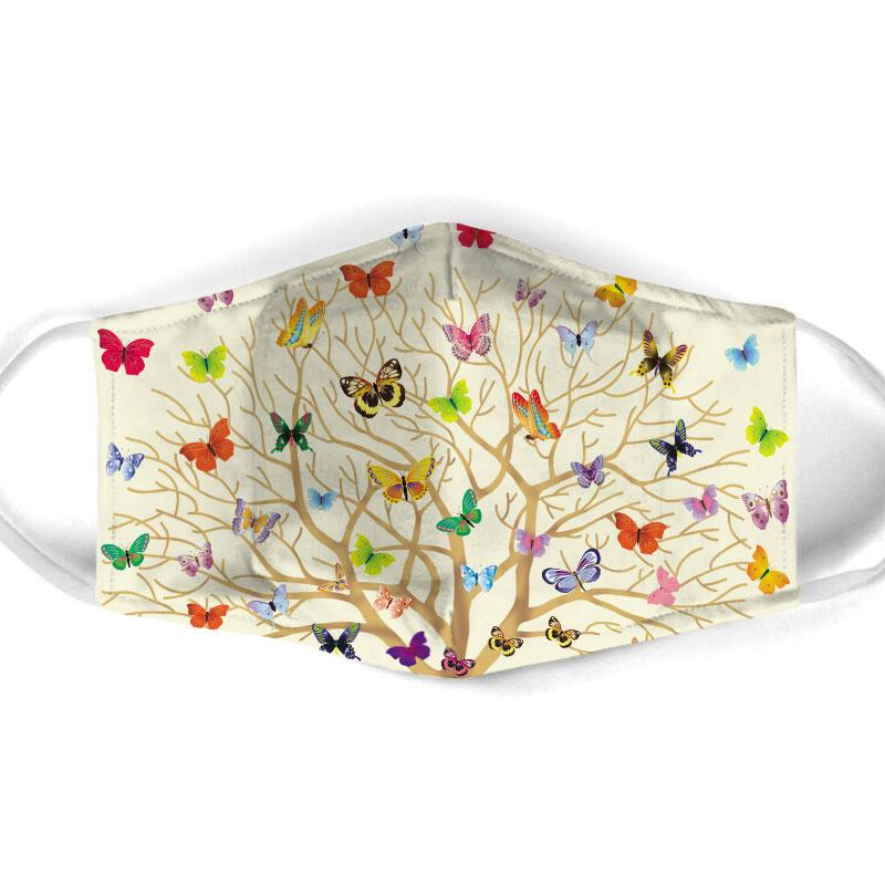 butterfly with life of tree all over print face mask 1