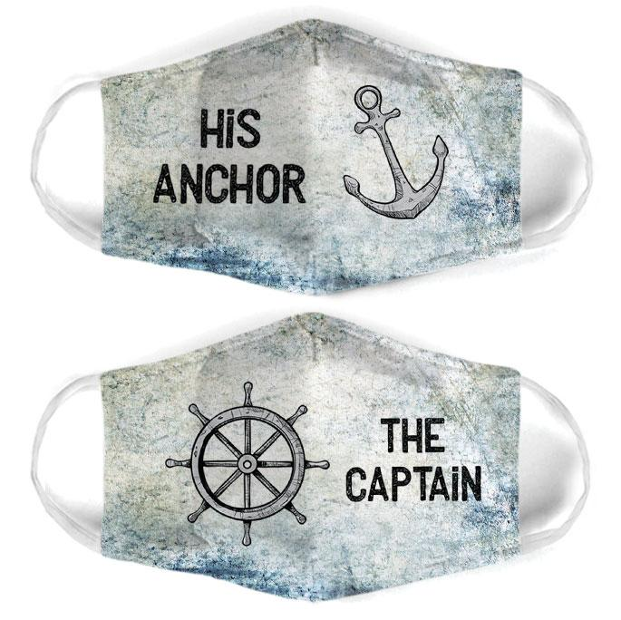 captain and anchor couple his anchor all over print face mask 1