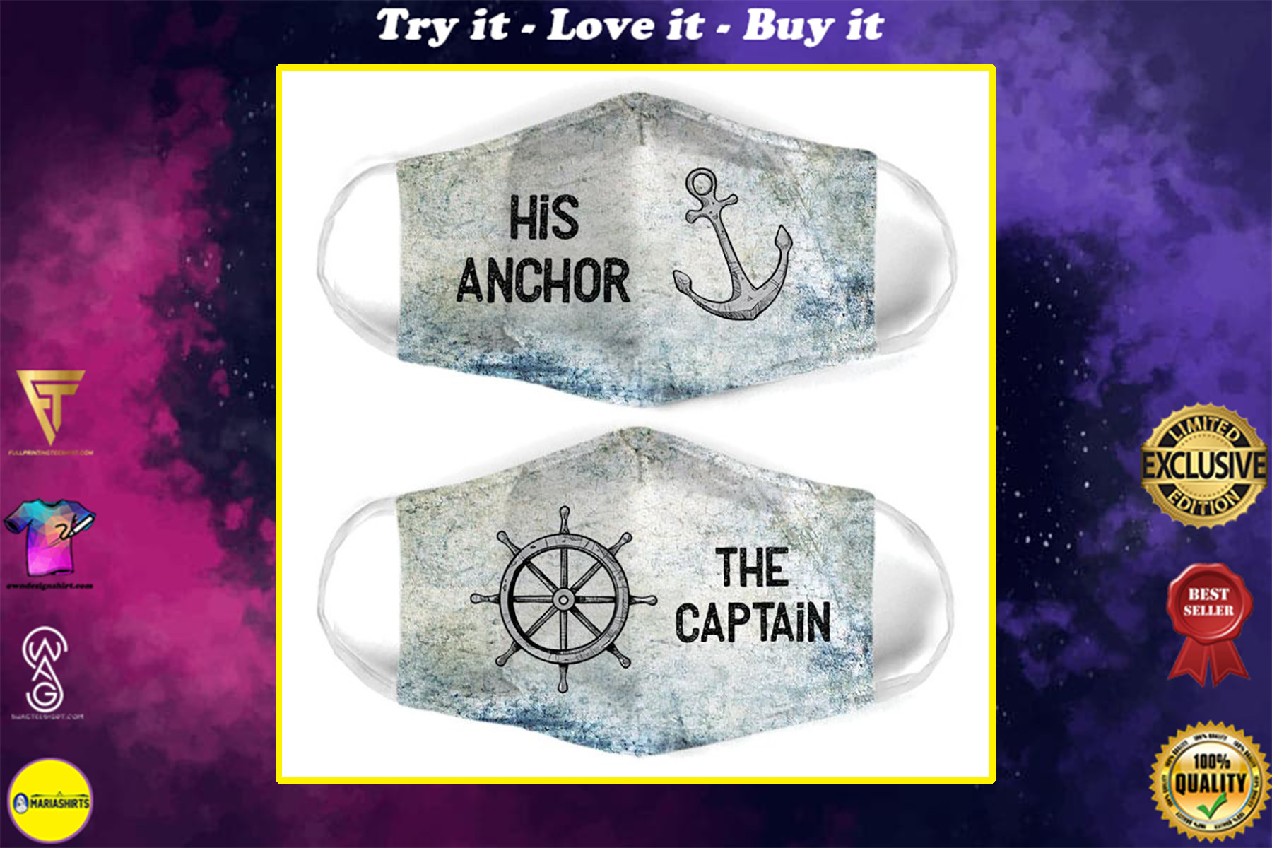 captain and anchor couple his anchor all over print face mask