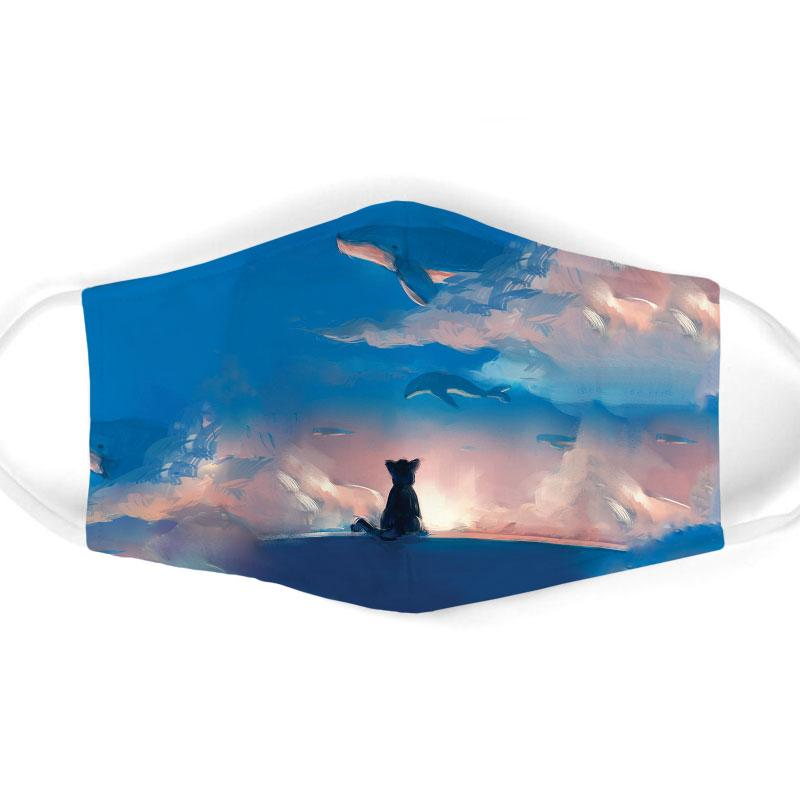 cat watching dolphin on sky all over print face mask 1