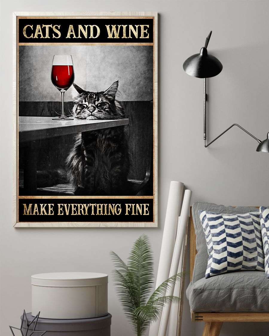 cats and wine make everything fine poster 3