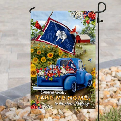 country roads take me home to the place i belong all over print flag 3