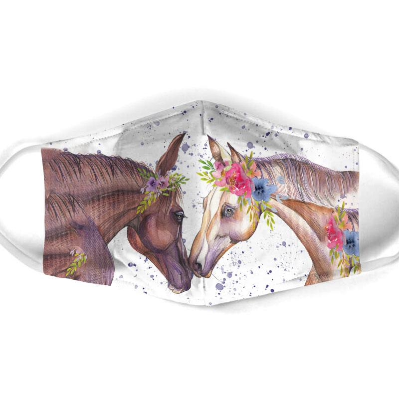 couple horse floral all over print face mask 1