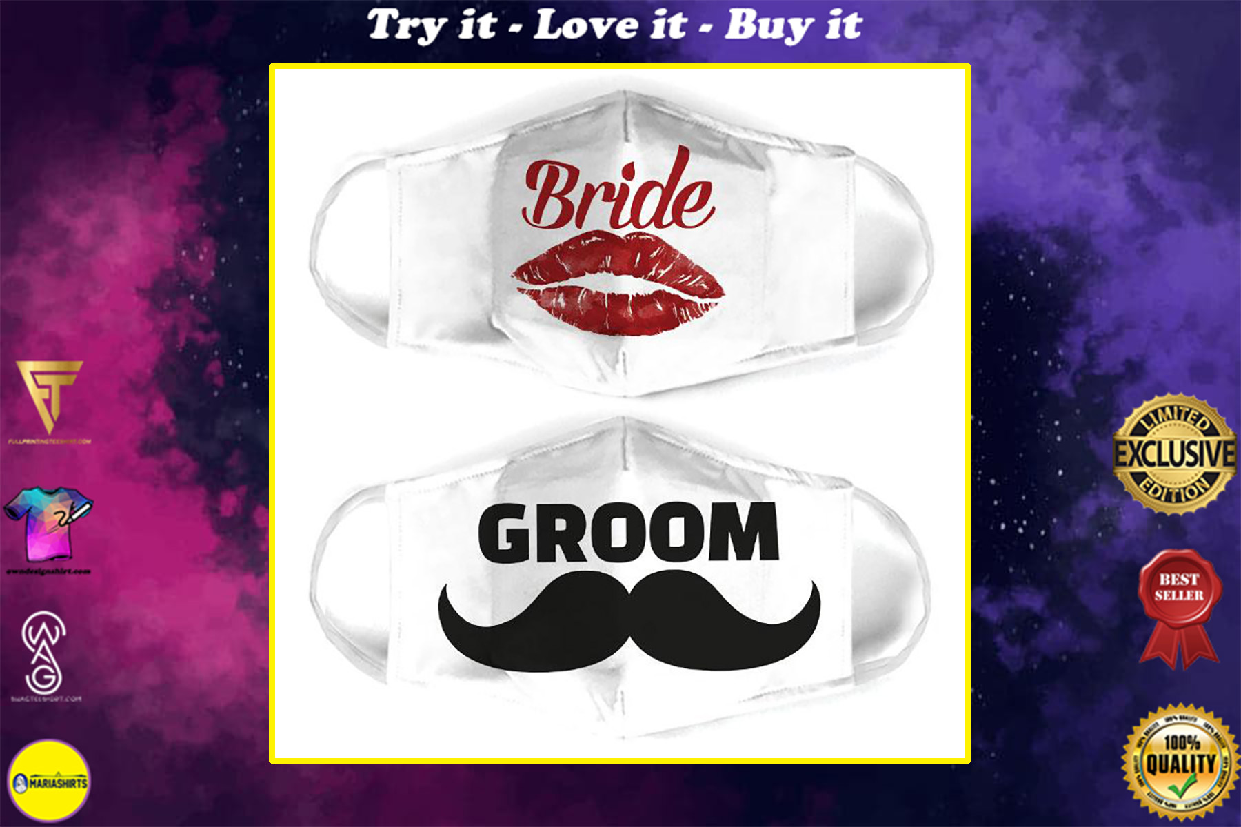 couple love bride and groom all over print face mask