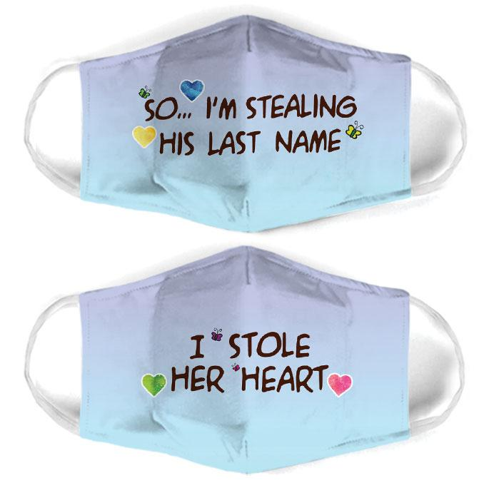 couple love i stole her heart all over print face mask 1