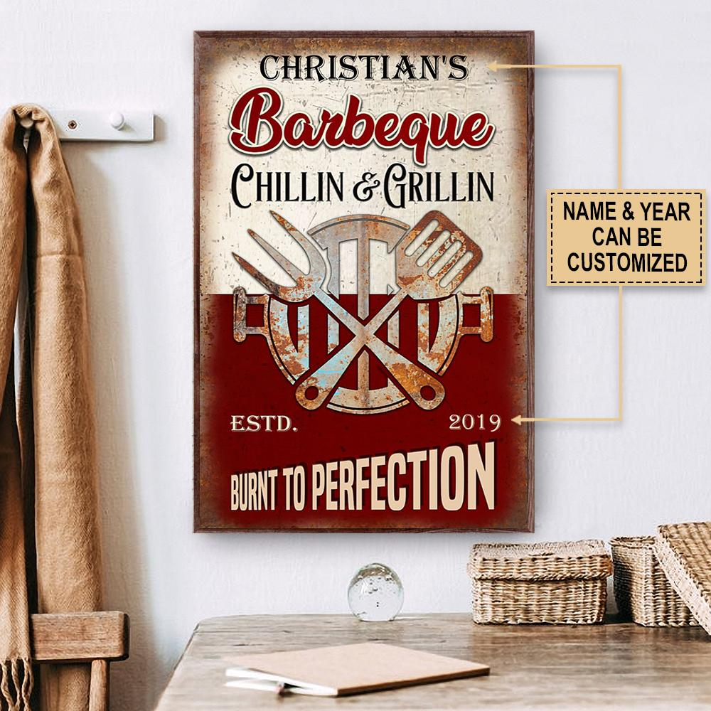 custom name barbeque chillin and grillin burnt to perfection vintage poster 2
