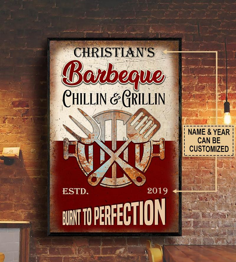 custom name barbeque chillin and grillin burnt to perfection vintage poster 3