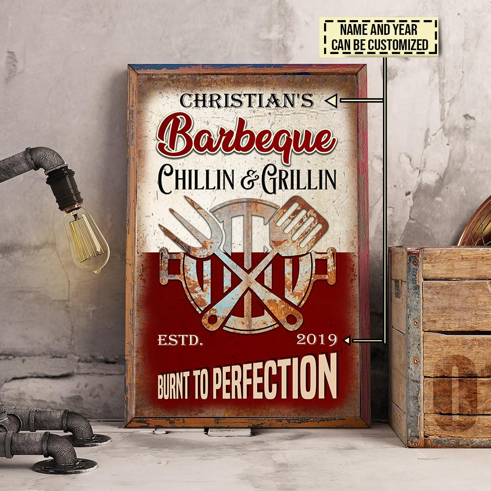custom name barbeque chillin and grillin burnt to perfection vintage poster 5