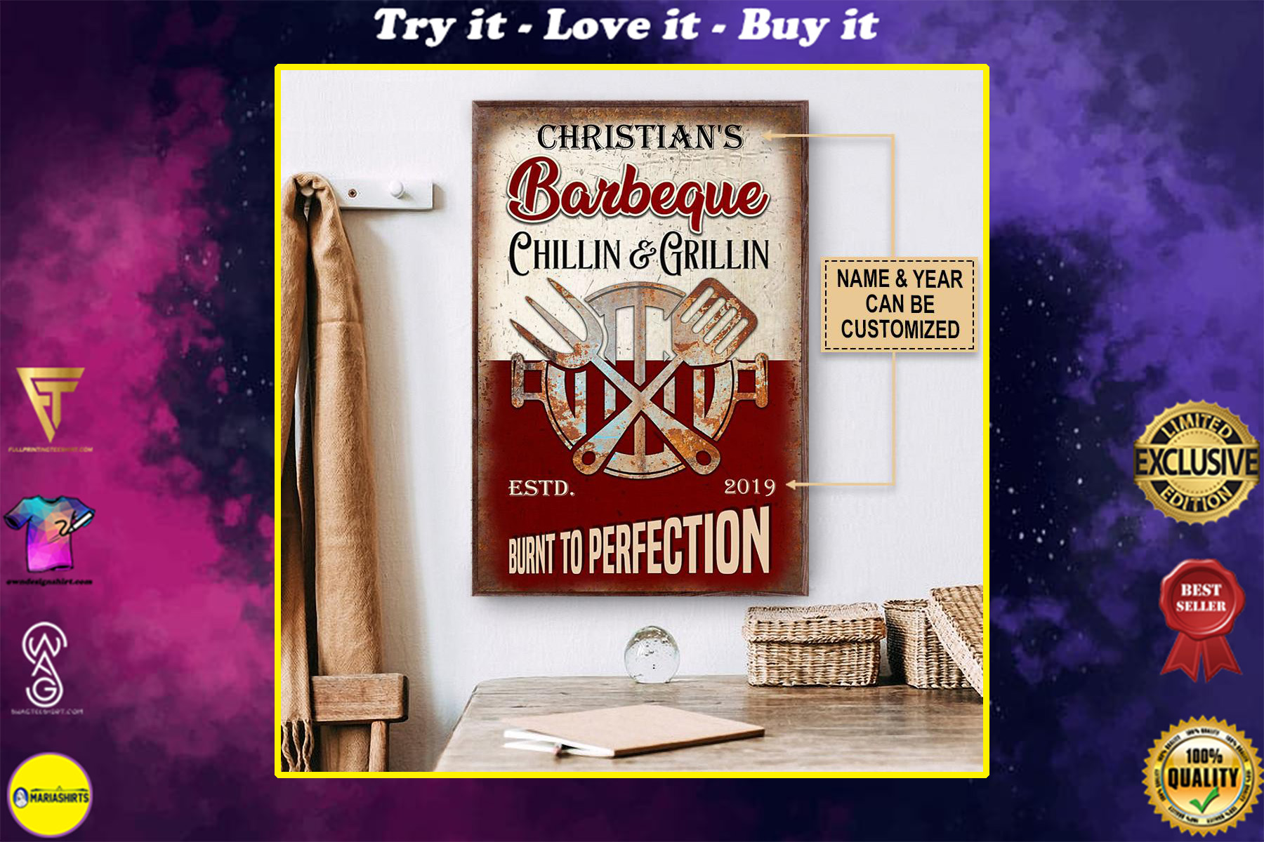 custom name barbeque chillin and grillin burnt to perfection vintage poster