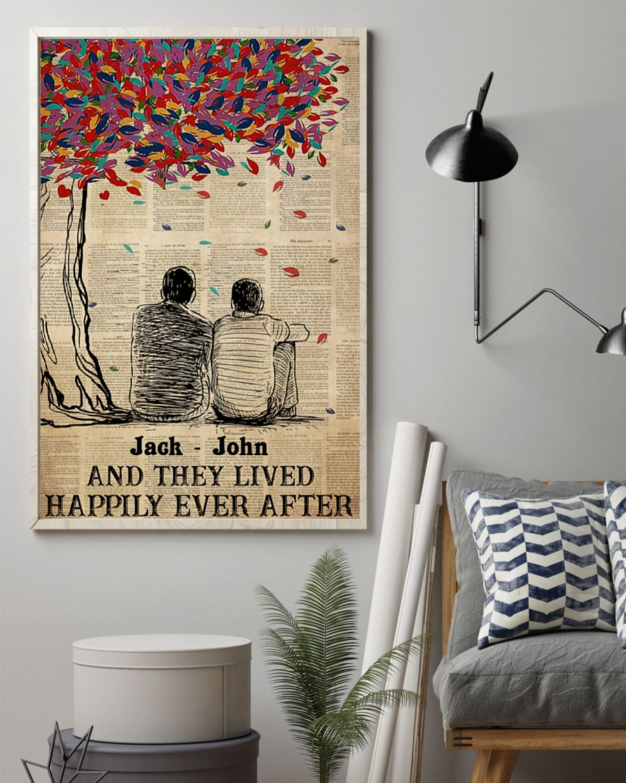 custom name gay couple and they lived happily ever after poster 2