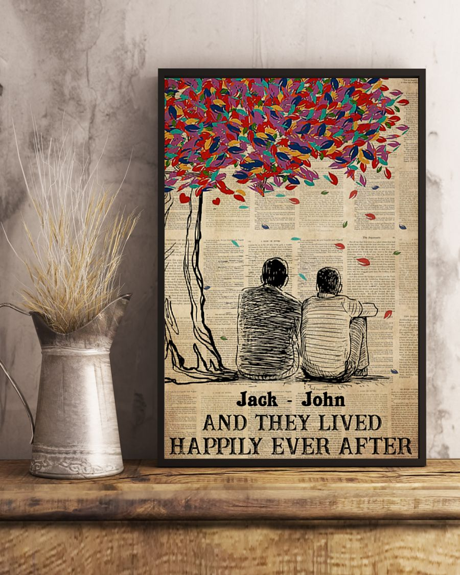 custom name gay couple and they lived happily ever after poster 4