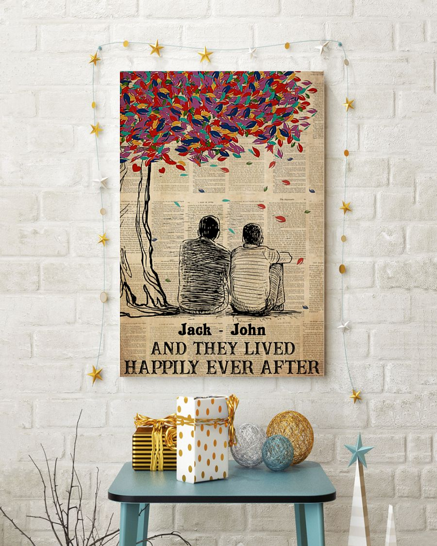 custom name gay couple and they lived happily ever after poster 5