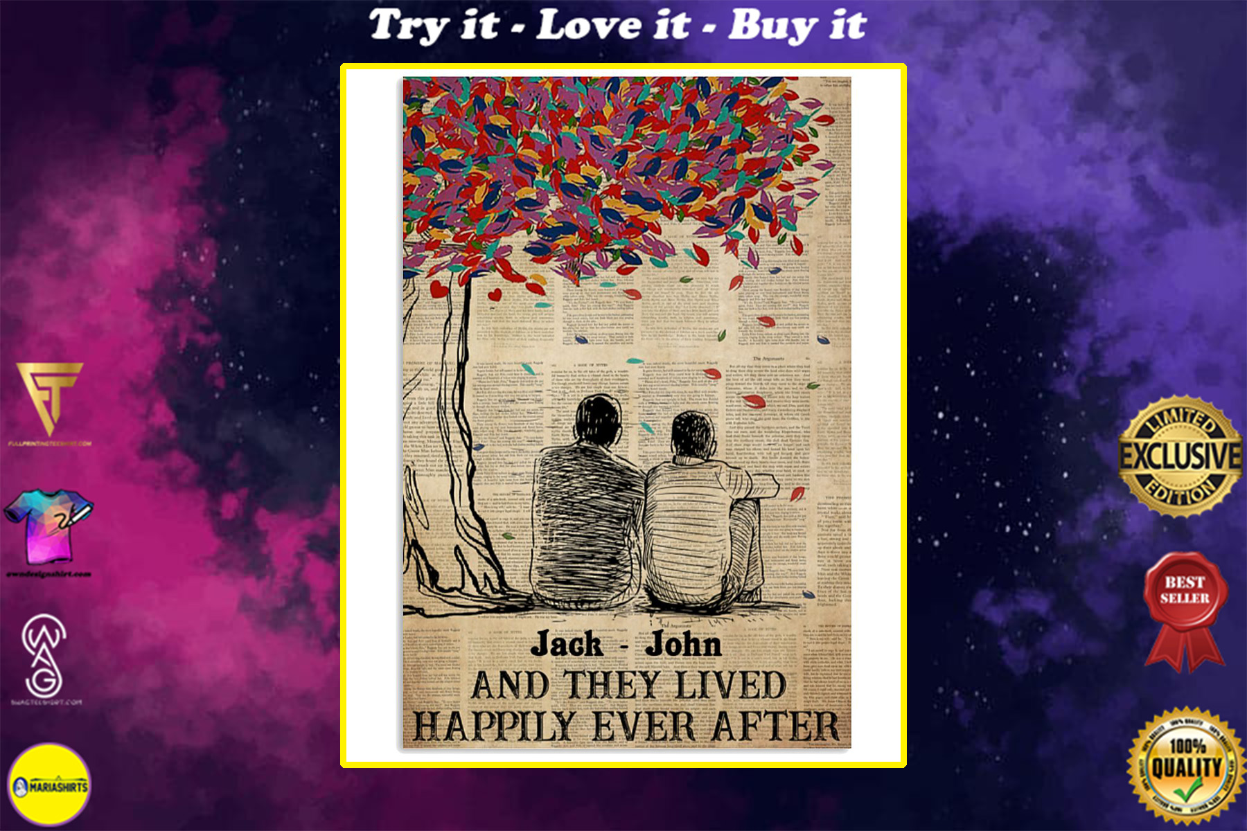 custom name gay couple and they lived happily ever after poster