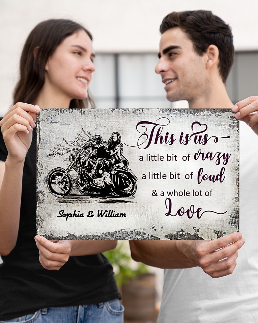 custom name this is us a little bit of crazy motorcycle couple poster 3
