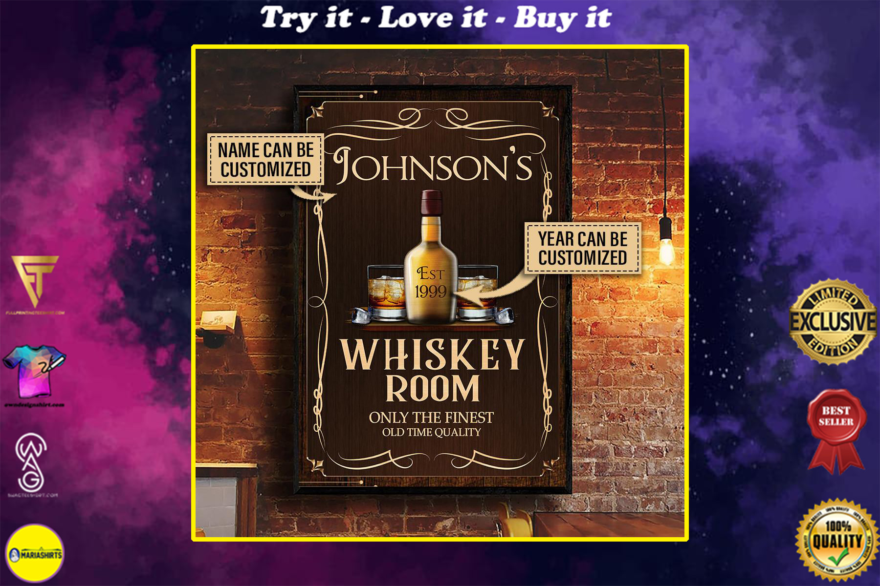 custom name whiskey room only the finest old time quality vintage poster