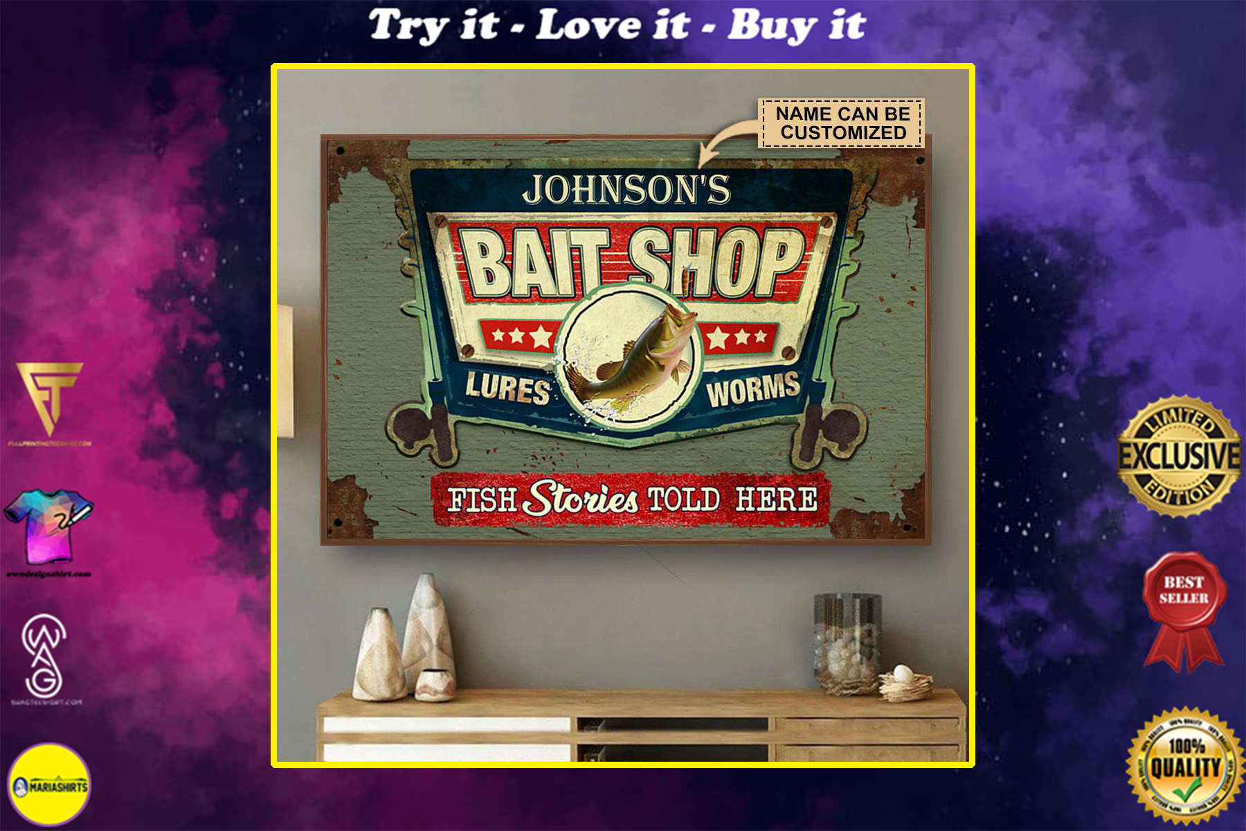 custom your name bait shop fish stories told here vintage poster