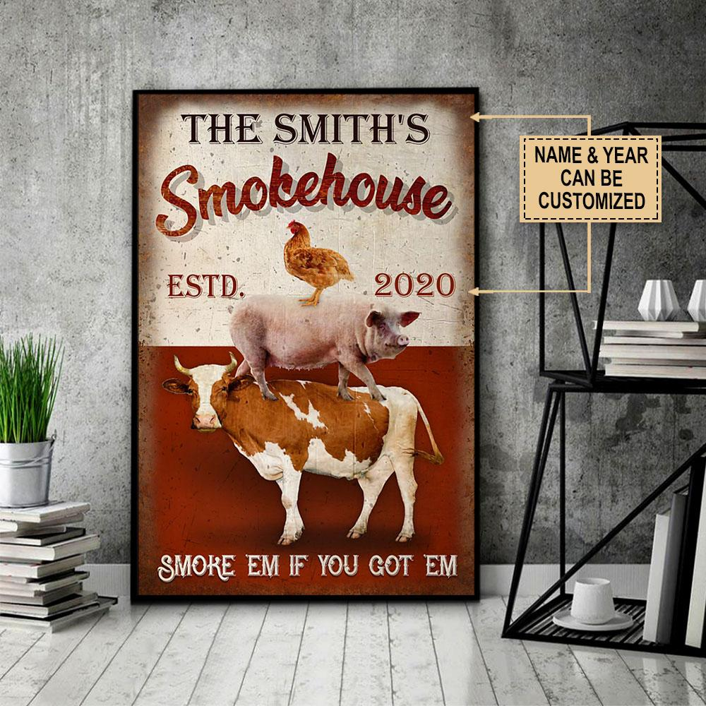 custom your name bbq smoke house smoke em if you got em poster 4