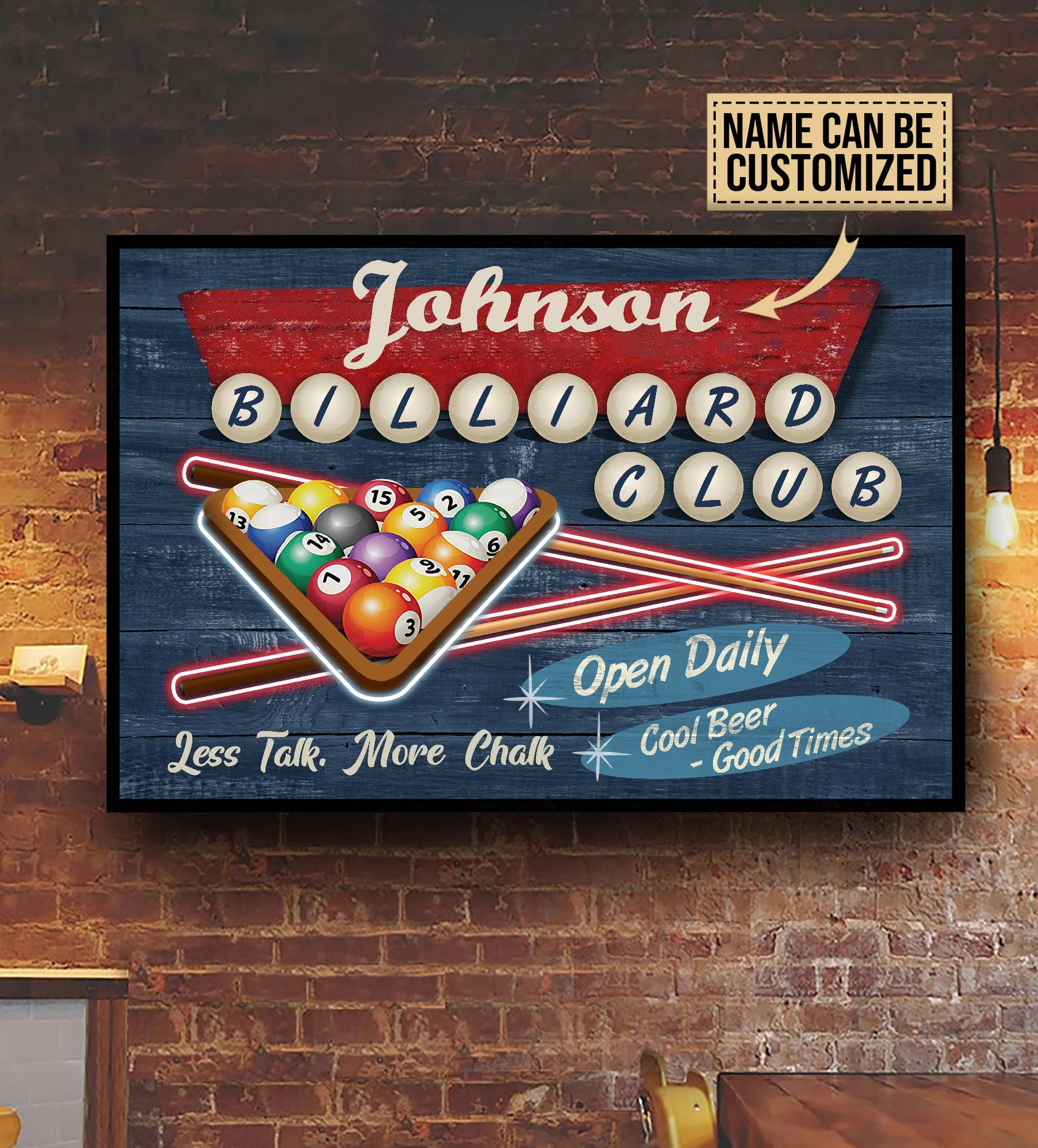 custom your name billiard club cool beer good times poster 4
