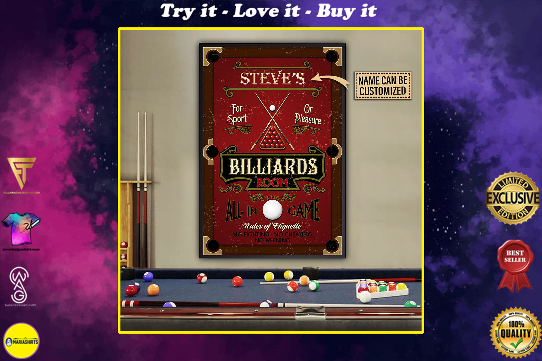 custom your name billiards room snooker all in game poster