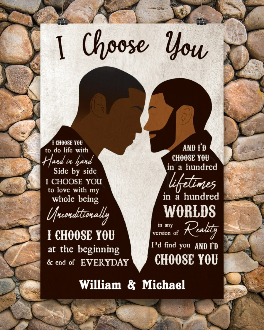 custom your name black gay couple id find you and i choose you poster 4