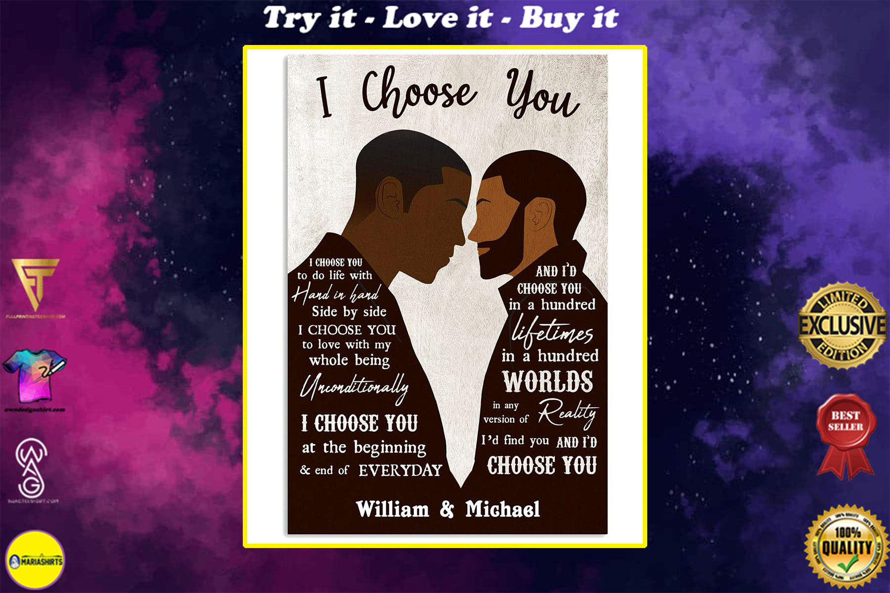 custom your name black gay couple id find you and i choose you poster