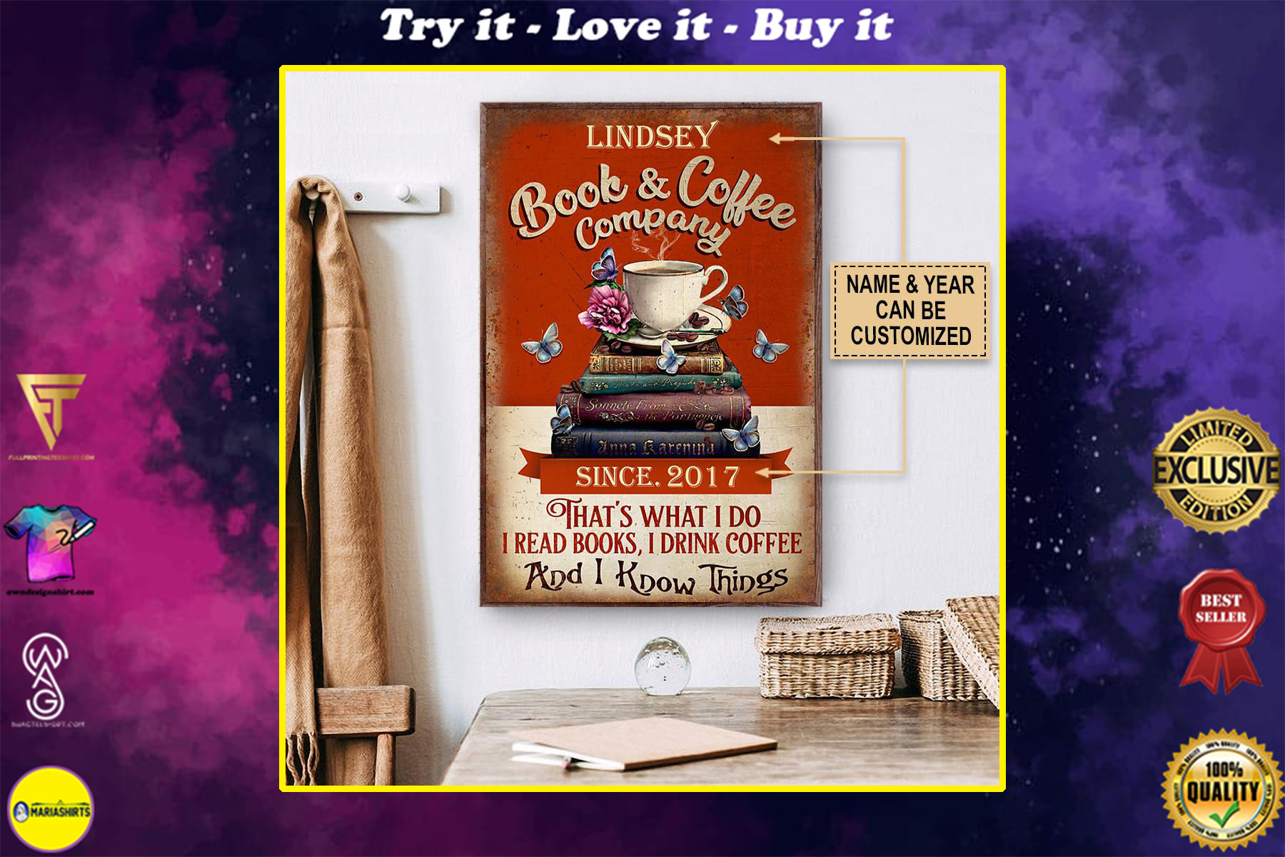 custom your name book and coffee company thats what i do i read books i drink coffee and i know things poster