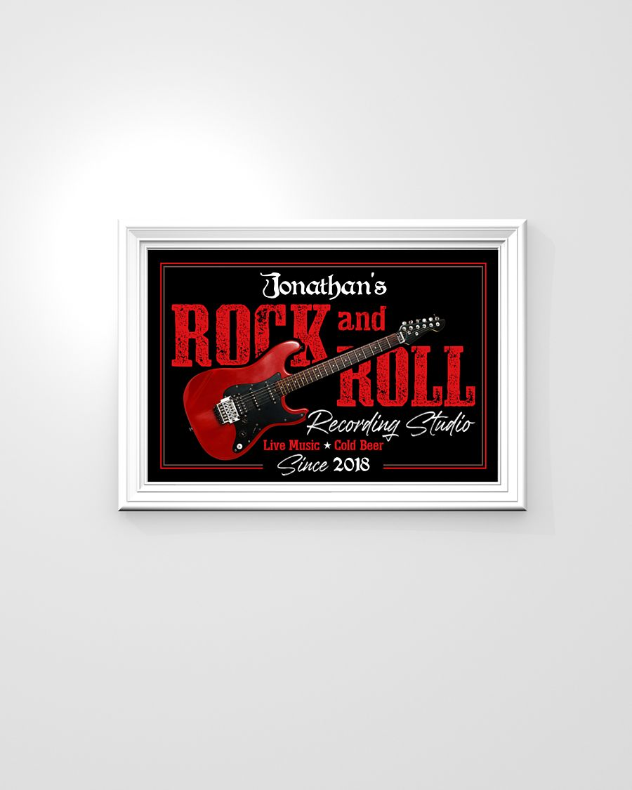 custom your name electric guitar rock and roll poster 4