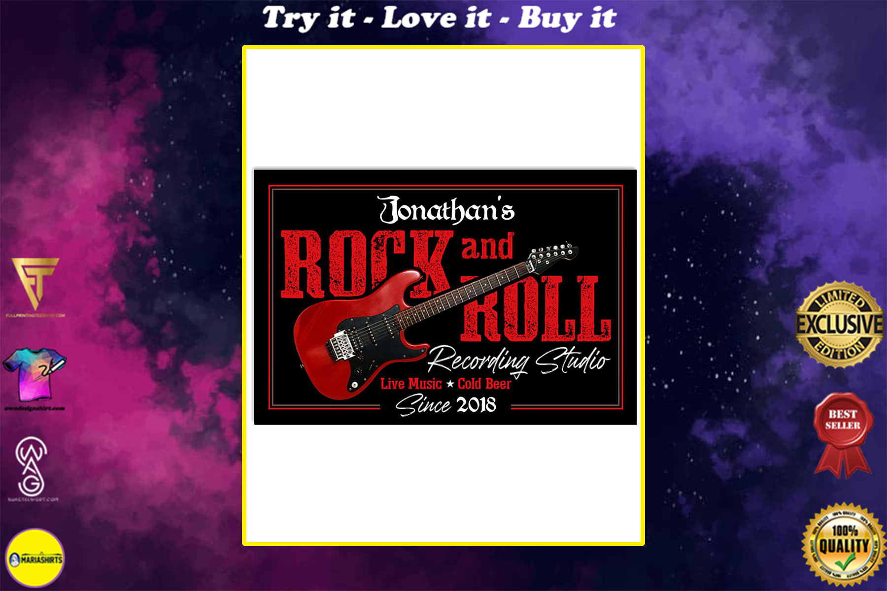 custom your name electric guitar rock and roll poster