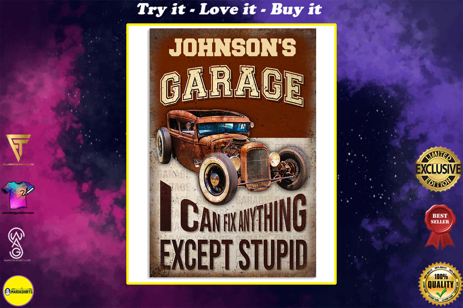 custom your name garage i can fix anything vintage poster
