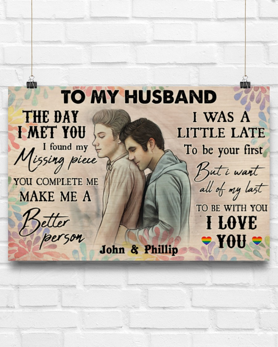 custom your name gay couple to my husband the day i met you i love you poster 2
