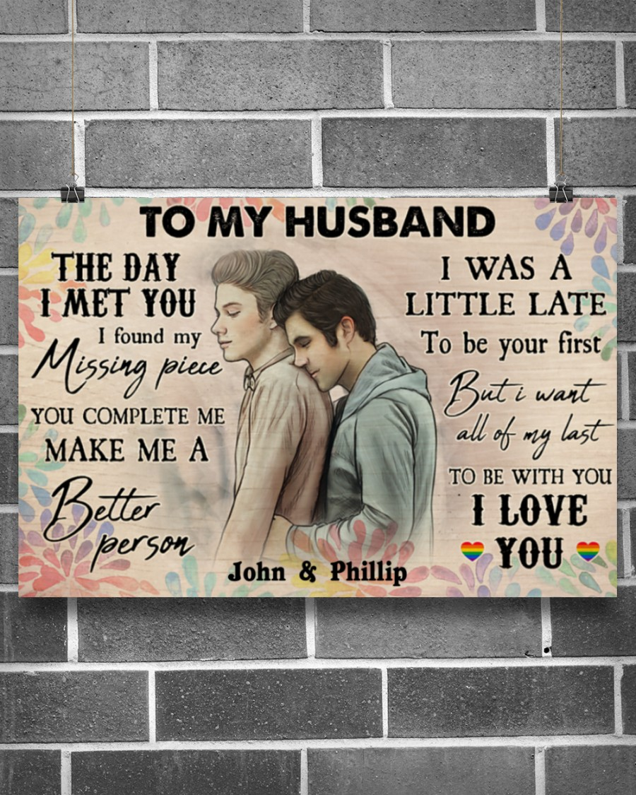 custom your name gay couple to my husband the day i met you i love you poster 3