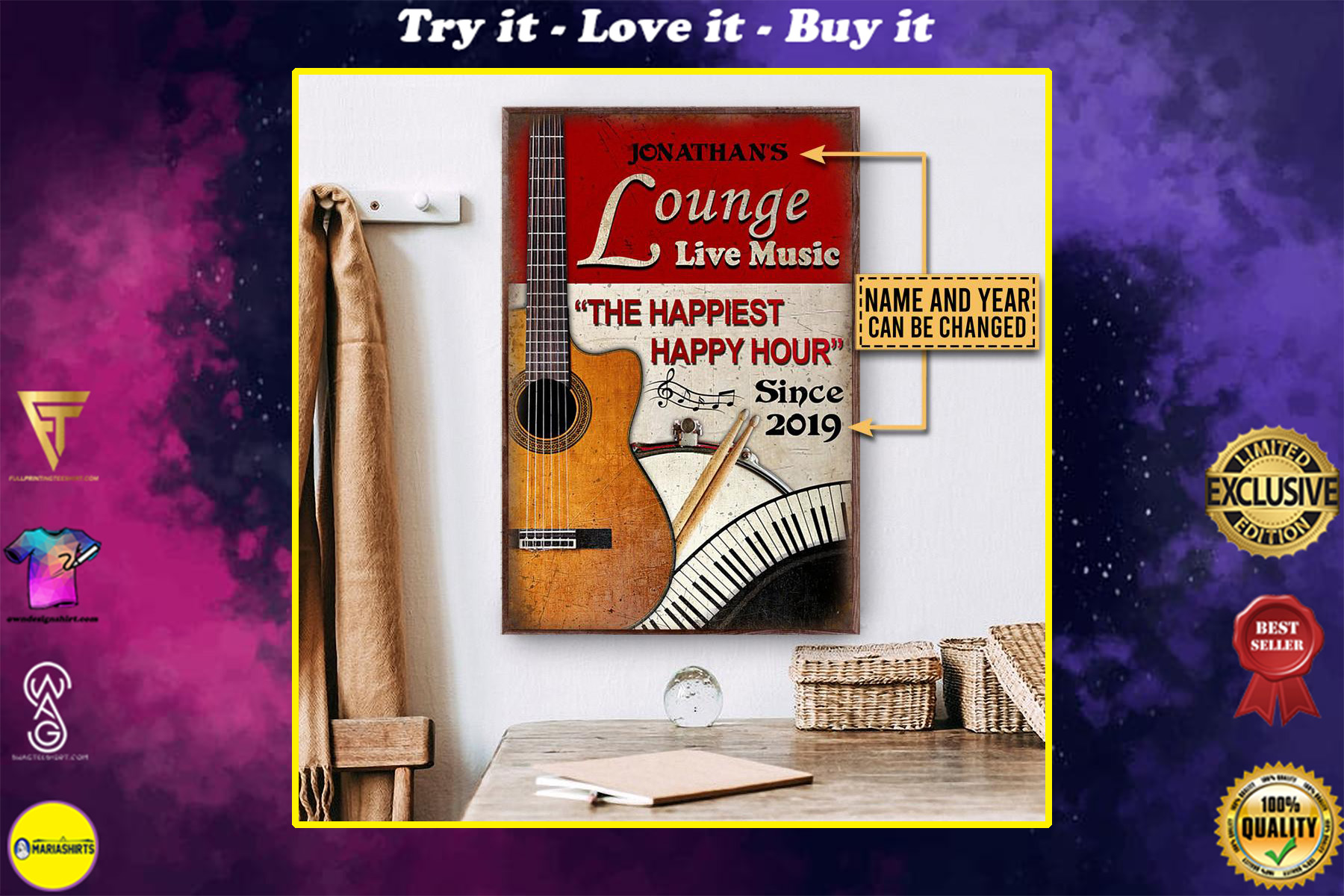 custom your name guitar lounge live music the happiest happy hour vintage poster