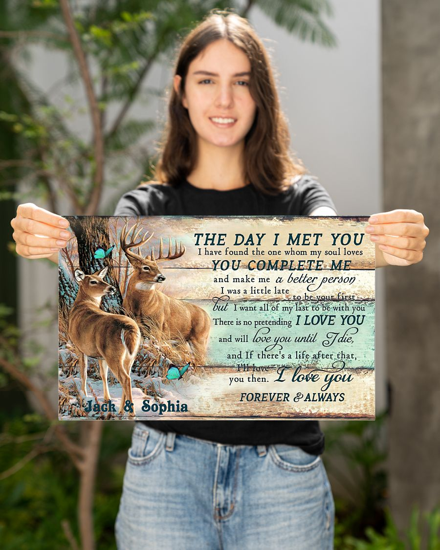 custom your name hunting buck and doe the day i met you i love you poster 2