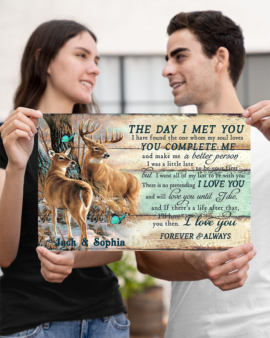 custom your name hunting buck and doe the day i met you i love you poster 3