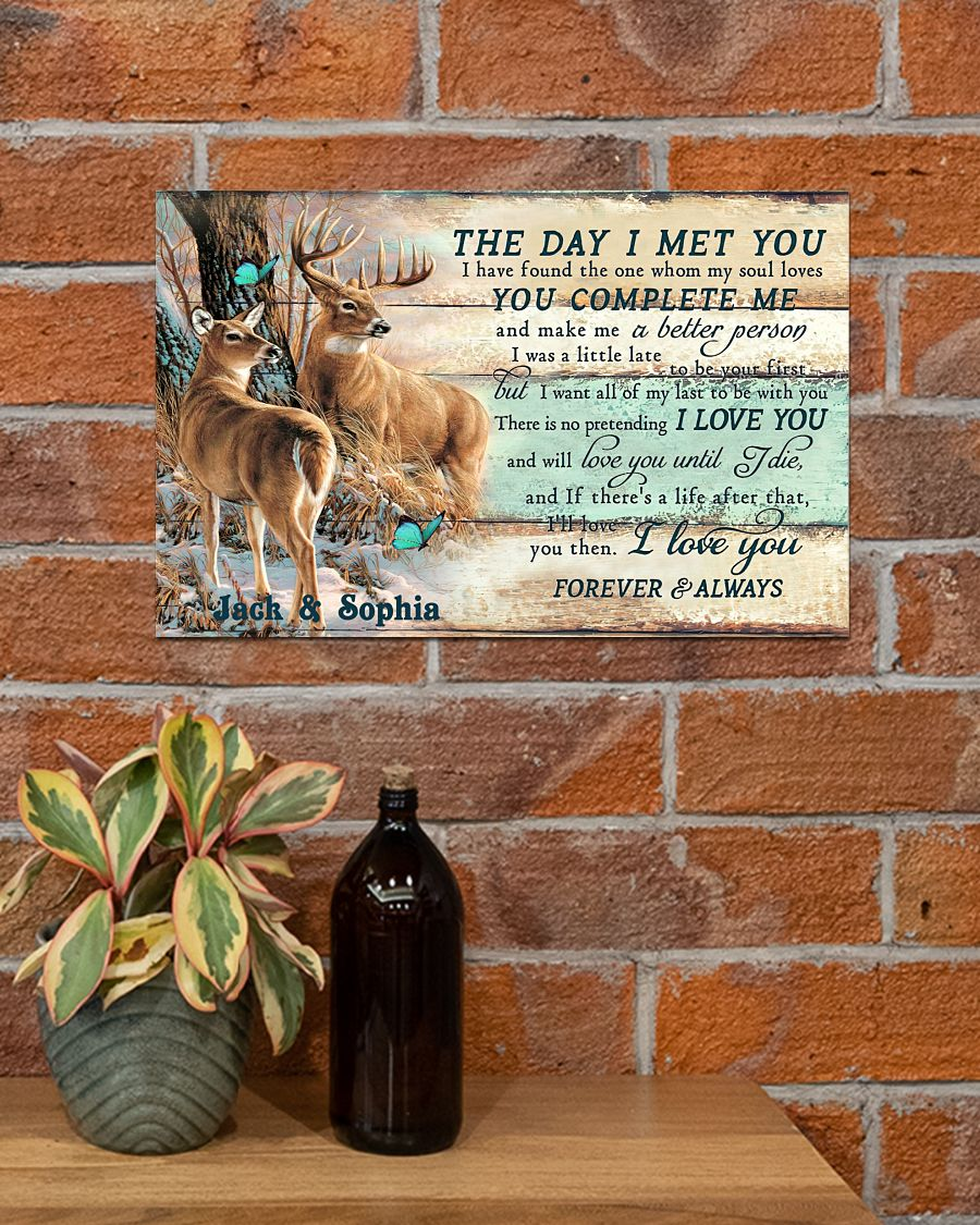 custom your name hunting buck and doe the day i met you i love you poster 4